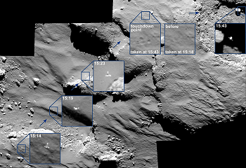 The descente and the 1st rebound of Philae on 67P. Images taken by the OSIRIS-NAC camera on board Rosetta at a distance of 15.5 km, on November 12, 2014 (resolution 28 cm/pixel). Credits: ESA/Rosetta/MPS for OSIRIS Team MPS/UPD/LAM/IAA/SSO/INTA/UPM/DASP/IDA.