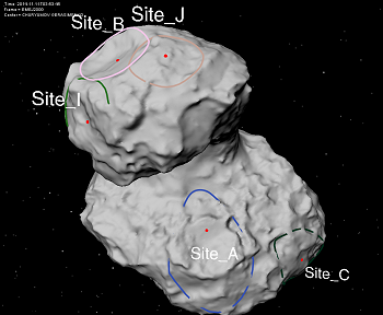 The 5 sites selected for the landing of Philae on 67P/G-C comet