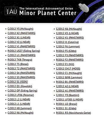 Les noms des comètes sont attribués par l'Union astronomique internationale