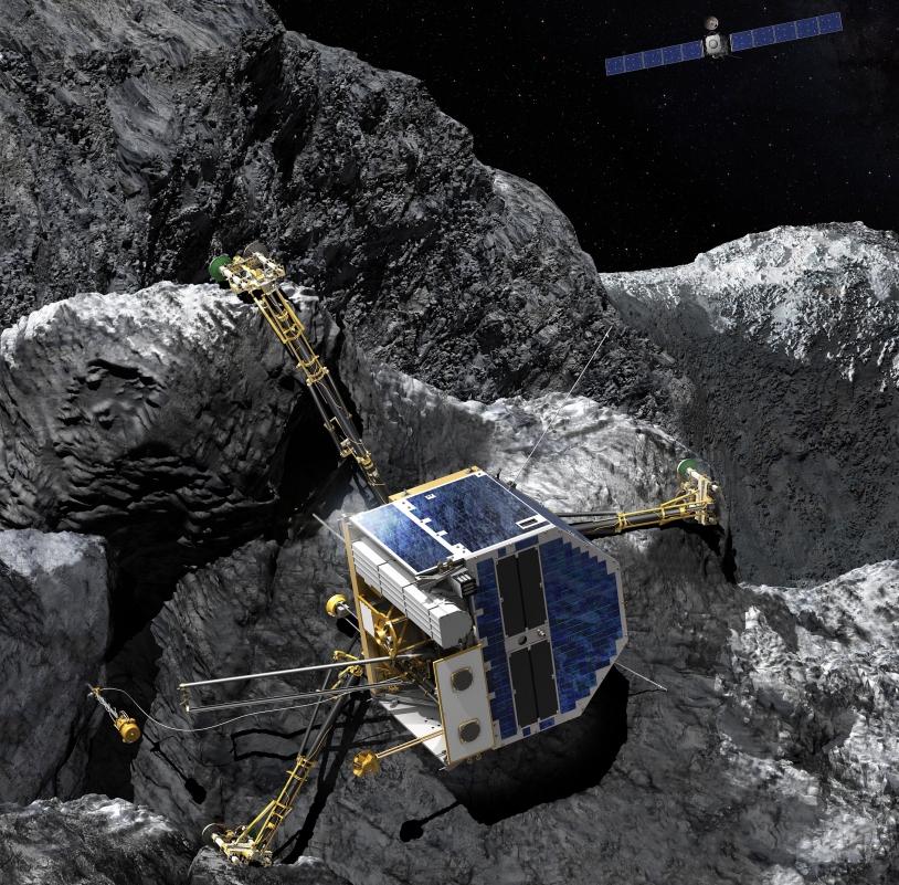 Philae couché sur le flanc sur la comète 67P