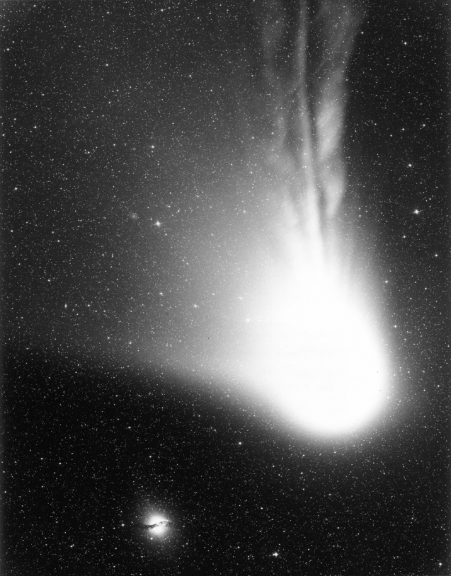 L'éventail de la queue de poussière de la comète de Halley lors de son passage de 1986.