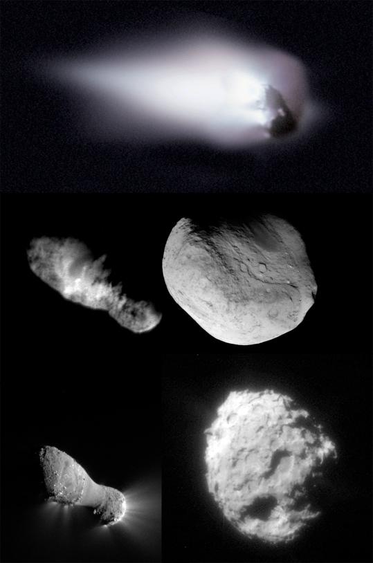 Les noyaux des comètes 1P Halley, 19P Borrelly, 9P Tempel, 103P Hartley et 81P Wild.