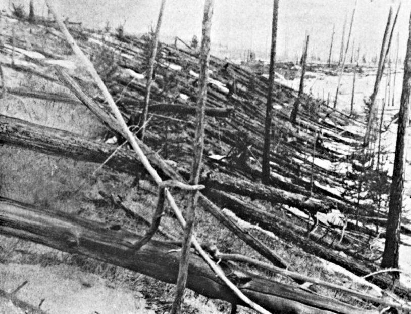 Le 30 juin 1908, un fragment de comète s'est probablement désintégré dans l'atmosphère de la Terre provoquant d'importants dégâts en Sibérie.